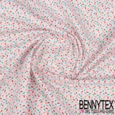 Coton Impression Motif Petites Pastilles En Amande Multicolores fond Blanc