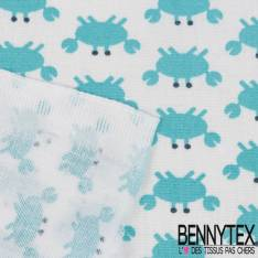 Coton Impression Motif Petit Crabe Bleu fond Banc