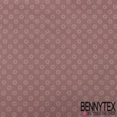 Coton Impression Motif Petite Fleurs stylisée Blanche fond Taupe