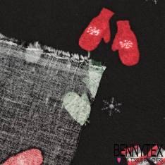 Fibranne Viscose Imprimé Moufle de Noël et Flocon de Neige fond Noir