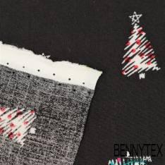 Fibranne Viscose Imprimé sapin de Noël fond Noir