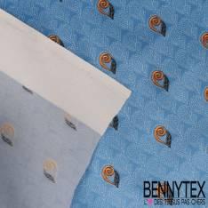 Carré de Soie Satin N°131: Motif petites Feuilles Noir fond fantaisie Bleu