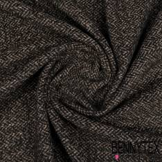 Laine Polyester Souple Effet Chiné Taupe Perle et Noir avec Bouclette Noire