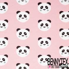 Jersey Coton Imprimé Tête de Panda fond Rose