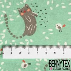 Jersey Coton Imprimé Petit Chat Gris Gris et Moineaux Blancs fond Vert Prairie