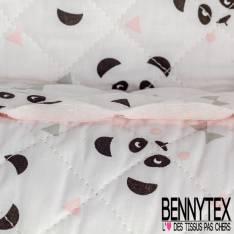 Coton Matelassé imprimé Recto tête de Panda Verso Petit Triangle