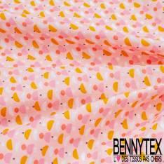 Coton imprimé Petits Bonnets Pompon Rouge fond Rose