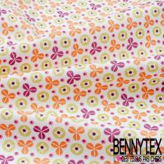 Coton imprimé Trèfles Trois Feuilles Stylisés Multicolores fond Blanc