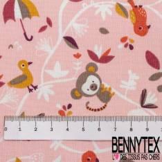 Coton imprimé Petites animaux dans la Forêt fond Rose