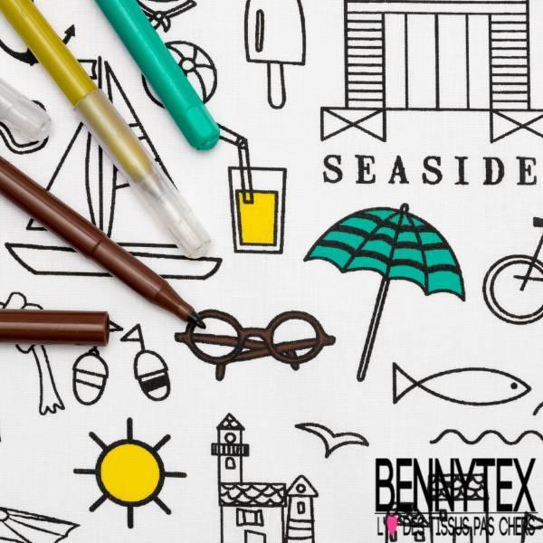Coton à colorier Lavable Vacances à la Mer et Réutilisable à l'infini