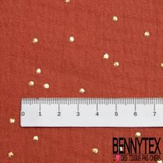 Coton Double Gaze Brique Pastille Relief Or
