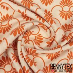 Lin Lavé Souple Motif Floral Baroque Mandarine fond Naturel