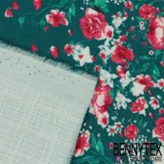 Toile Coton Souple Nattée Elasthanne Canard Motif 4 bandes Florales Verticales