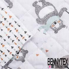 Coton Matelassé imprimé Recto Ours Heureux avec parapluie Verso Trio de Triangles