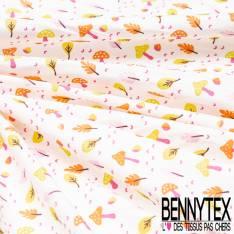 Coton imprimé Sous Bois Champignon et feuilles de Chêne fond Blanc Cassé