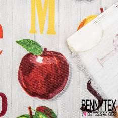 Coton Crétonne imprimé Pomme d'Api Verte Rouge et Jaune fond imitation Parquet Gris