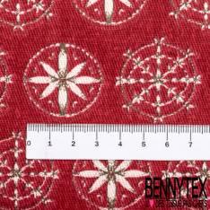 Coton Crétonne imprimé Flocon Blanc contour gris fond Rouge
