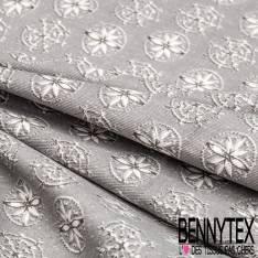 Coton Crétonne Sergé imprimé Flocon Blanc contour gris fond Gris