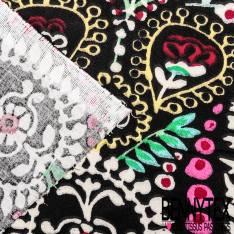 Coton Crétonne imprimé Gros Motif Cachemire Multicolore fond Noir
