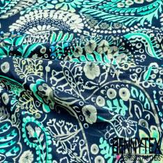 Coton Crétonne imprimé Gros Motif Cachemire Vert Gris Bleu fond Marine