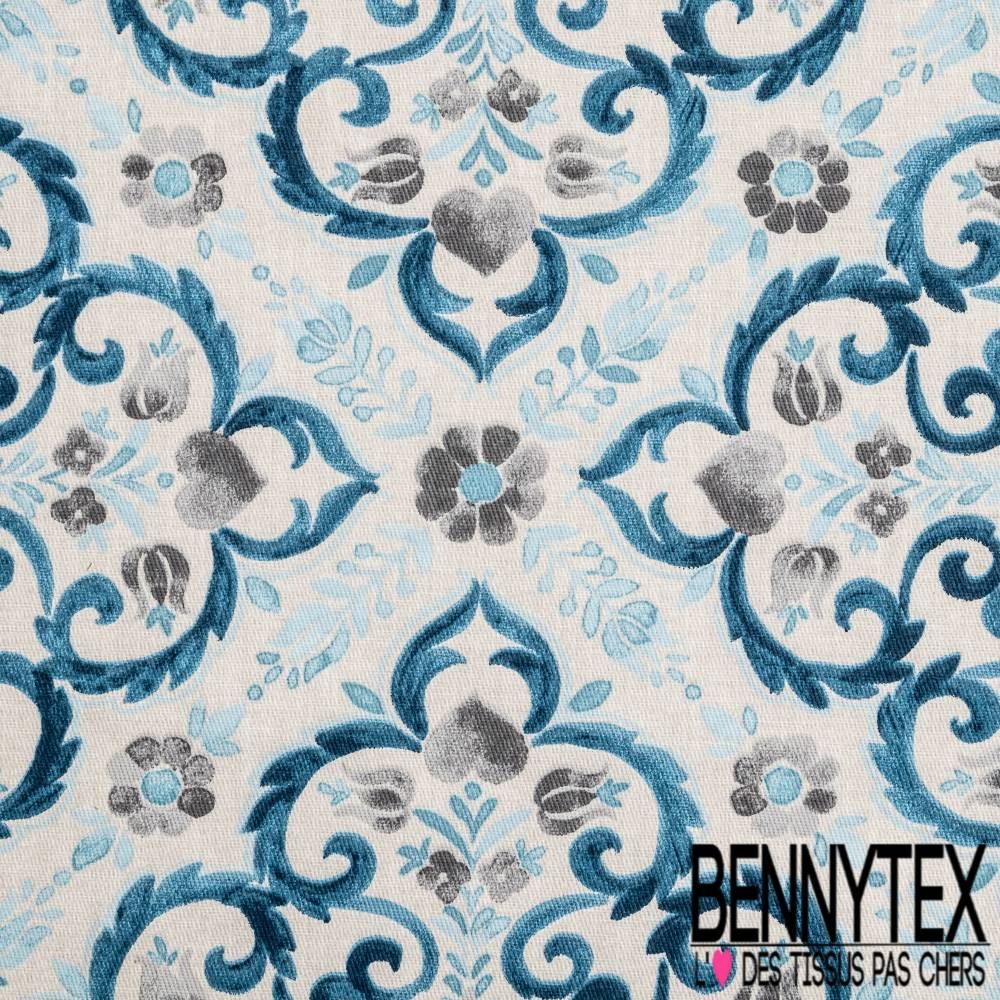 Coton Cretonne Imprime Motif Arabesque Effet Carreaux De Ciment Bleu