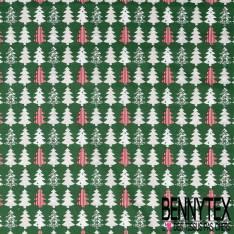 Coton imprimé Sapin de Noël Fantaisie Vert et Rouge fond Vert Bouteille
