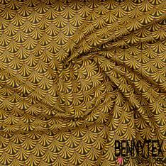 Coton imprimé Eventails Esprit Ethnique Moutarde Noir Rouille