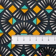 Coton imprimé Abstrait Esprit Ethnique Turquoise Marine Moutarde