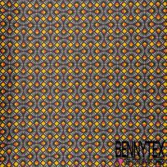Coton imprimé Abstrait Esprit Ethnique Noir Corail Moutarde