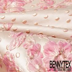 Brocart Gaufré Camélia Rose et Or et Gros Pois Or fond Or Blanc