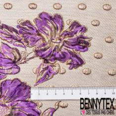 Brocart Gaufré Camélia Violet et Or et Gros Pois Or fond Or Blanc