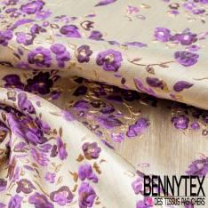 Brocart Gaufré Artifice de Fleurs ton Violet et Or fond Or Blanc