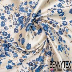 Brocart Gaufré Artifice de Fleurs ton Bleu et Or fond Or Blanc