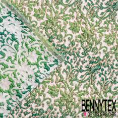 Brocart Gaufré Imprimé Rococo Tie and Die Vert sapin Vert Pomme et Or fond Or Blanc