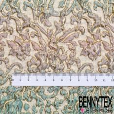 Brocart Gaufré Imprimé Rococo Tie and Die Ciel Dragée et Or fond Or Blanc