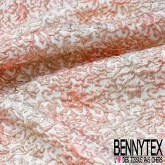 Brocart Gaufré Imprimé Rococo Tie and Die Nude Saumon et Or fond Or Blanc