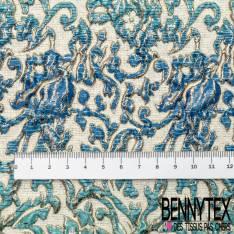Brocart Gaufré Imprimé Rococo Tie and Die Azur Electrique et Or fond Or Blanc