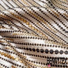 Brocart Gaufré Imprimé Lignes de Pois Noir et Or fond Or Blanc