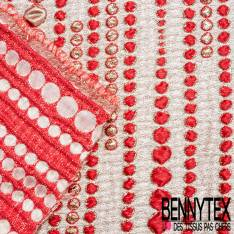 Brocart Gaufré Imprimé Lignes de Pois Rouge et Or fond Or Blanc