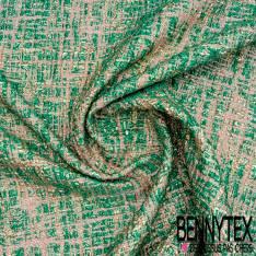 Brocart Gaufré Imprimé Graphique Vert Sapin et Or fond Or Blanc