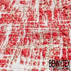 Brocart Gaufré Imprimé Graphique Rouge et Or fond Or Blanc