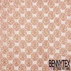 Brocart Gaufré Imprimé Rococo Baroque Rose et Or fond Or Blanc