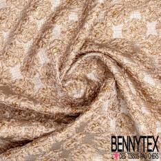 Brocart Gaufré Imprimé Rococo Baroque Nude et Or fond Or Blanc
