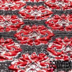 Brocart Gaufré Imprimé Rococo Baroque Rouge et Argent fond Noir