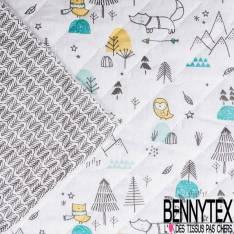 Coton Matelassé imprimé Recto Renard et Hibou dans la Forêt Verso Multiflèches Grises