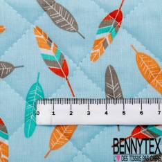 Coton Matelassé imprimé Recto Plume fond Bleu Verso Triangle Multicolore