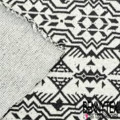 Maille Viscose Polyamide Elasthanne Motif Inca Noir fond Ecru