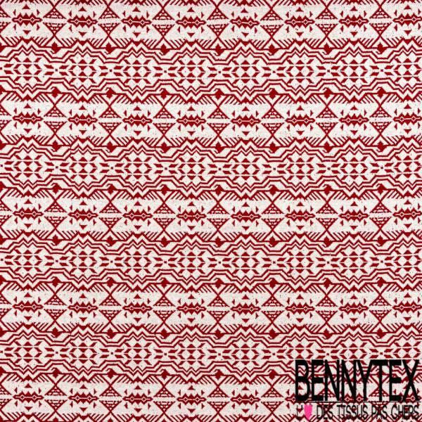 Maille Viscose Polyamide Elasthanne Motif Inca Rouge fond Ecru