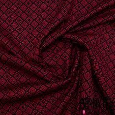 Maille Viscose Polyamide Elasthanne Motif Losange Gigogne Rouge fond Noir