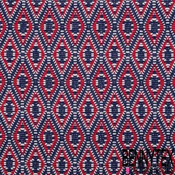 Maille Viscose Polyamide Elasthanne Motif Losange Ethnique Blanc et Rouge fond Marine
